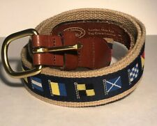 Vintage Men 38 Nautical Flag Stitch Leather Belt