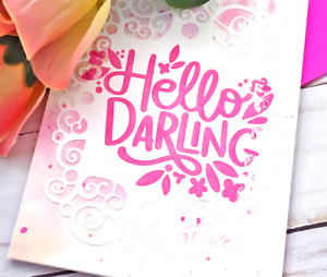 Handmade Greeting Card Hello Darling Watercolor Lacy Background Romantic A2 Size