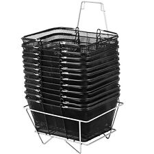 12Pcs Black Shopping Baskets 20kg/44Lbs Durable Supermarket Rubber Handles