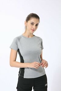 Womens Grey T-Shirt Activewear for Gym Running Yoga Slim Fit QuickDry Fitness