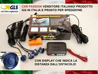 KIT 4 SENSORI DI PARCHEGGIO AUTO BLU CON DISPLAY FIAT 500 500L 500X QUBO PANDA