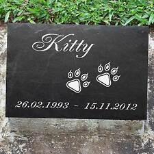 Katzenpfoten ►mit Gravur◄ in Schiefer Tiergrabplatte Grabtafel Grabstein 20x15cm