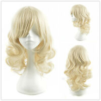 Retro Party Queen Light Blonde Wig Medium Length Curly Hair Women's Wigs