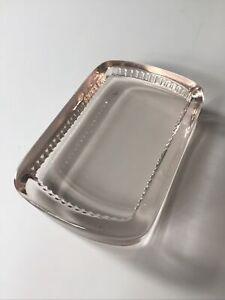 Vintage Solid Glass Soap Dish Thick Clear Minimal Elegant Bathroom 1950s