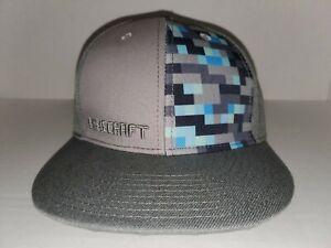 JINX MINECRAFT Diamond Crafting Snapback Baseball Hat OSFA Flat Fitty Gray
