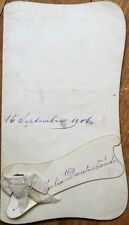 Menu: French, 1906 Handwritten w/Ribbon & Name Card Attached