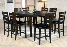 9pc modern Espresso Finish dining set counter height table chair