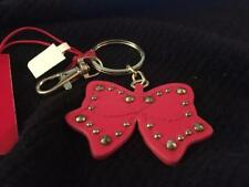 Macy's Bow Shaped Key Chain ~ Gold Studs, Ring & Lobster Claw~ Red Leather~NWT