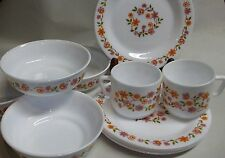 Vintage Arcopal France White Glass Soup bowls Bread and butter plates 2 tea cups