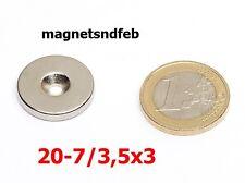 Magnet, Ringe für Schraube, 20x7/3,5x3, Neodym