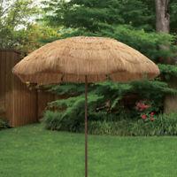6.5' Thatch Patio Tiki Umbrella Plastic Straw Umbrella with Tilt and Carry Bag