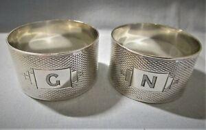 LOVELY PAIR OF UK HALLMARKED SILVER NAPKIN RINGS BY E W HAYWOOD BIRMINGHAM 1949