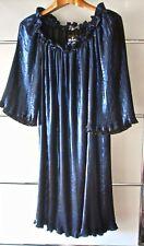 Ulla Popken Selection, extravagantes Plissee-Kleid, Blau metallic, Gr. 42/44 NEU