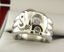 Chopard Happy Diamond Elephant 18K White Gold Ring  Diamond &Sapphire Gemstone