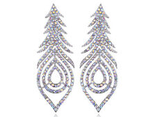 Aurora Borealis Crystal Rhinestone Peacock Feather Leaf Big Dangle Drop Earrings