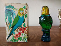 Avon Bird Island Parakeet Moonwind Blue 1.75 oz Vintage with Cologne and Box