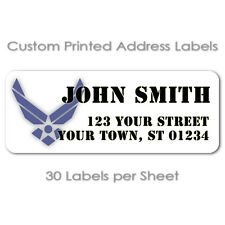 USAF 30 PER SHEET AIR FORCE PERSONALIZED MAILING RETURN ADDRESS LABELS