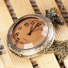 Antique Vintage Bronze Tone Pendant Pocket Quartz Watch Chain Necklace Gift