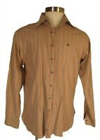 Burberry London Mens Tan Stripe Long Sleeve Cotton Shirt XL 17-43 UK Made