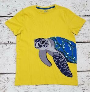MINI BODEN Boys Yellow Sea Turtle Appliqued Short Sleeve Tee Shirt 11 12 EUC