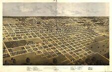1869 Springfield birds eye view history Illinois map Genealogy atlas poster 55