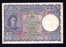 Ceylon  10 Rupees 1942  P#36A  VF