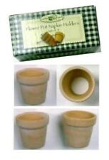 (4) Terra Cotta Clay Flower Pots NAPKIN RINGS - Spring/Easter
