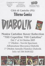 VOLANTINO  DIABOLIK tiferno comics MOSTRA 700 CARTOLINE