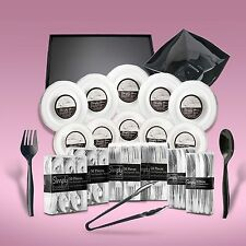 540 Piece Disposable Dinner Set Platters And Bowls Silver Rims For 100 People