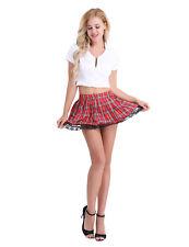 Sexy Women School Girl Uniform Cosplay Costumes Lingerie Plaid Skirt Clubwear XL