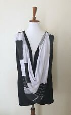Parsley & Sage Large Sleeveless Black White Crossover Drape Front Knit Top New