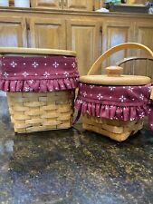 "Set of 2 Longaberger Baskets: Tall Tissue & Wood Lid & 5"" Measuring Trad Red"