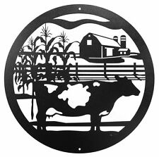 "SWEN Products FARM DAIRY COW SPOTTED Steel 12"" Scenic Art Wall Design"