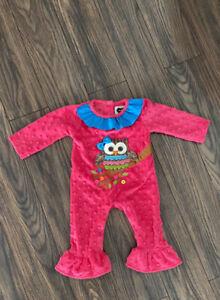 mud pie baby girl 0-6 Months Owl Romper