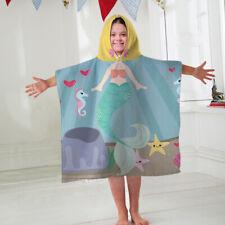 Kids Hooded Towel Poncho Mermaid Face Design Childrens Bathrobe Swim Bath Sun