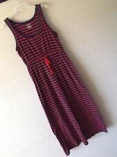RALPH LAUREN L STRIPE MAXI TANK DRESS Cotton Navy Blue Red DRAWSTRING Monogram