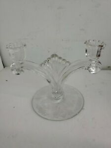 Two-Lite Candle Holder US Glass Tiffin Cherokee Rose!