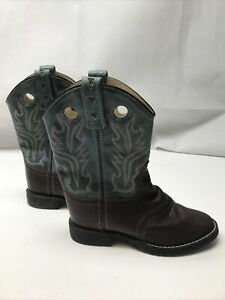 Old West Girls Western Boots Teal Brown KG Rodeo Ranch Equestrian