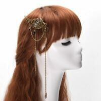 Vintage Steampunk Gear Wing Tassels Chain Hair Clip Punk Gothic Headwear