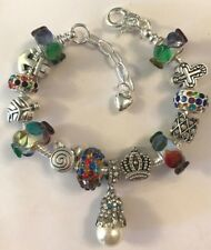 ❤️European CHARM BEADS BRACELET ~ MUTI-COLOR Beads ~ w/ Silver Plated Chain❤️