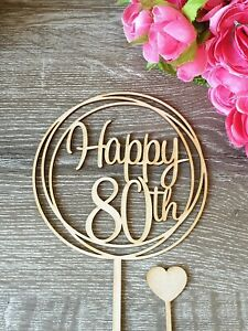 Happy 80th Cake Topper MADE IN AUSTRALIA 80 birthday party decorations