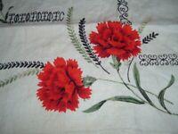 Vtg 50s Red Carnation Linen Kitchen Tea Towel Black & Olive Leaves 26x16 PB6