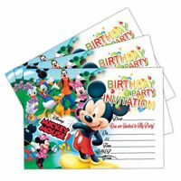 MICKEY MOUSE INVITATIONS | 20 CARDS | BIRTHDAY PARTY INVITES | KIDS BOYS GIRLS