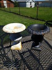 Vintage/Antique Matching Pair Cast Iron Garden Urns