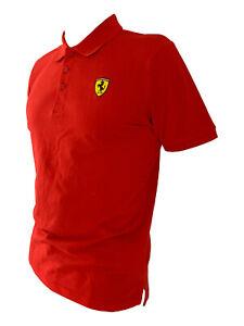 Ferrari Herren Polo shirt rot Formel 1 T-shirt 3D Logo 100% Baumwolle Gr. M L