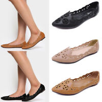 Ladies Casual Flats Hollow Out Pumps Casual Breathable Pointed Toe Shoes Slip On