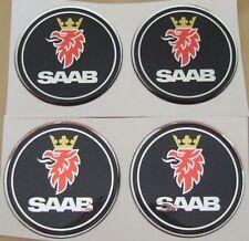 "4 black emblem badge ALLOY wheel center hub caps 2 3/8"" saab"