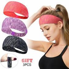 2X Uomini Donne Cotone Sport Sudore Fascia Elastica Cerchietto Yoga Palestra Stretch Head Band