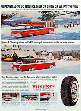 Vintage 1959 Firestone tires winter snow town country advertisement print ad art