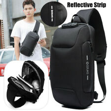 Men Lady Anti-theft Waterproof Shoulder Bags USB Chest Travel Bag 3-Digit Lock
